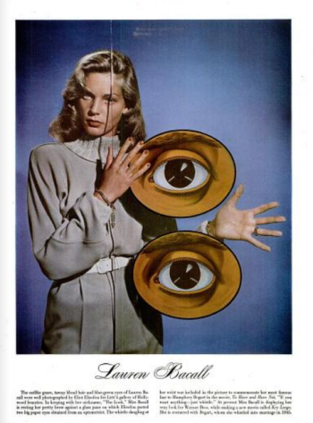 Actress Lauren Bacall in a LIFE photo by Eliot Elisofon. (Comet Over Hollywood scan)