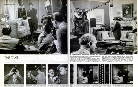 """The Take"" photographed by Ralph Crane with actor Joe De Rita in The Doughgirls. (Scanned by Comet Over Hollywood)"