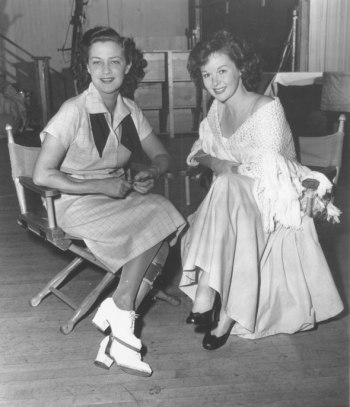 Jane Froman and Susan Hayward on the set of