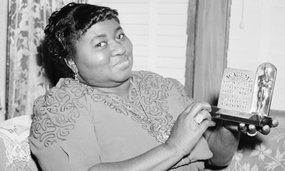 Hattie McDaniel with her Academy Award for Best Supporting Actress which has been missing since the 1960s.