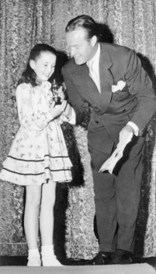 "Bob Hope presents Margaret O'Brien with the Academy's first ""Oscarette"" for best performance of a child actress in 1944."