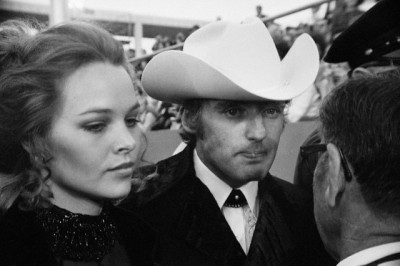 Actor-Director Dennis Hopper with fiancee Michelle Phillips shown as they arrived for the Academy Awards. April 7, 1970, Hollywood. --- Image by © Bettmann/CORBIS
