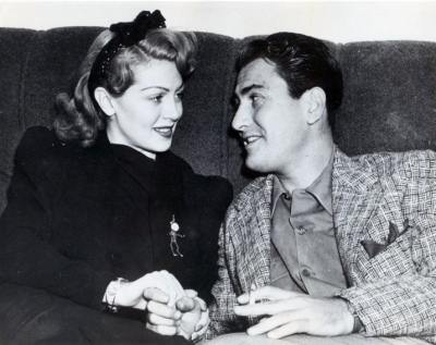 Lana Turner with first husband Artie Shaw.