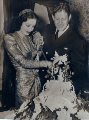 (Betty) Jane Greer and Rudy Vallee at their wedding.