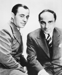 "Songwriters Richard Rodgers and Lorenz Hart in the 1930s. Their career is portrayed in ""Words and Music."""
