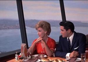 "Joan O'Brein and Elvis Presley in ""It Happened at the World's Fair"" in the Space Needle."