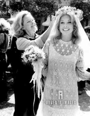 "Actress Mona Freeman with daughter Monie Ellis on the set of ""Gidget Gets Married."""