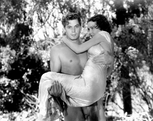"Weissmuller with Maureen O'Sullivan in ""Tarzan and His Mate"" (1934)"