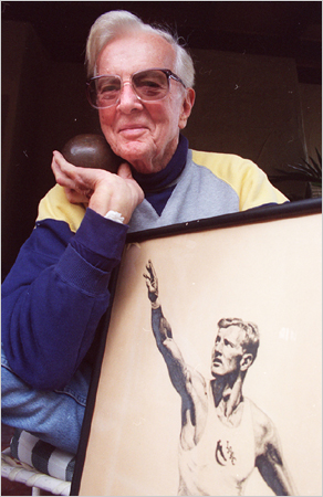 He went by either Bruce Bennett or Herman Brix. Pictured in 1993 with his shot put and a photo of himself from the Olympics.