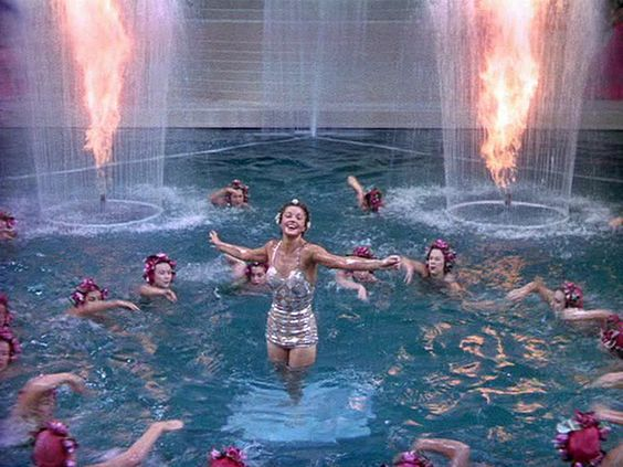 "Esther Williams in a synchronized swimming extravaganza in ""Bathing Beauty"""