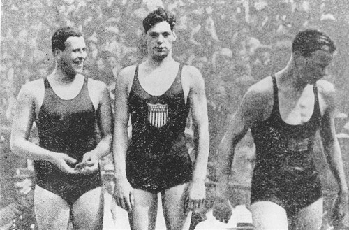 Johnny Weissmuller was nonetheless an accomplished swimmer. At the Paris 1924 Games, he won gold in the 100m freestyle, 400m freestyle and 4x200m freestyle relay. We see him here after his 400m freestyle surrounded by his fellow medal-winners, Sweden's Arne Borg (2nd, on the right) and the USA's Andrew Charlton (3rd, on the left) Copyright: IOC