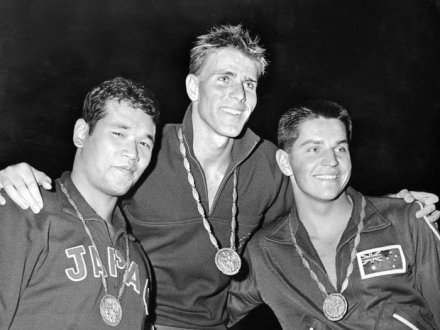 Murray Rose (center) at the 1960 Olympics with his gold medal