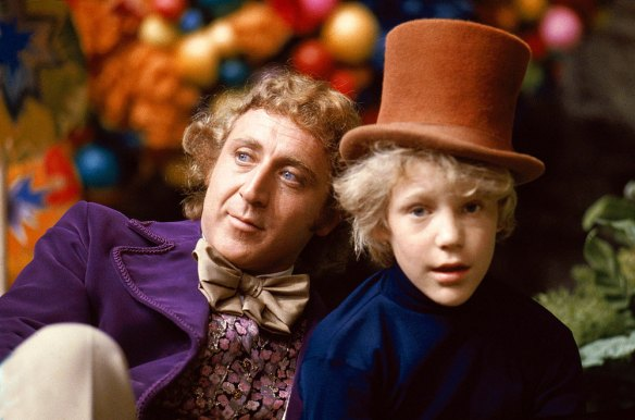 "Gene Wilder and Peter Ostrum behind the scenes of ""Willy Wonka and the Chocolate Factory"""