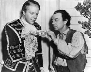 "Nelson Eddy and Buster Keaton on the set of ""New Moon."" Buster Keaton's scenes were deleted."
