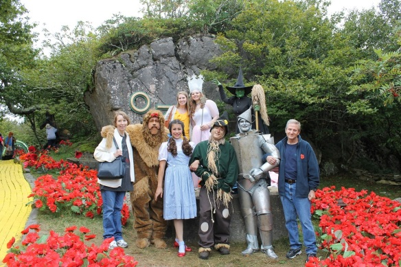 Myself, my parents and the Wizard of Oz characters at Land of Oz