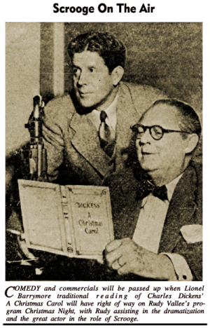 Lionel Barrymore with Rudy Vallee performing