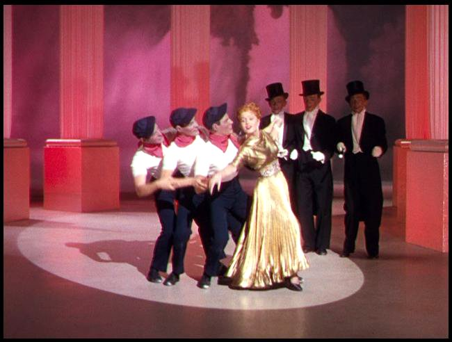 Debbie Reynolds in a daydream with dancers dressed as Gene Kelly and Fred Astaire