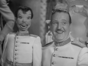 "Frank Morgan and his dummy ""Scrappy"""